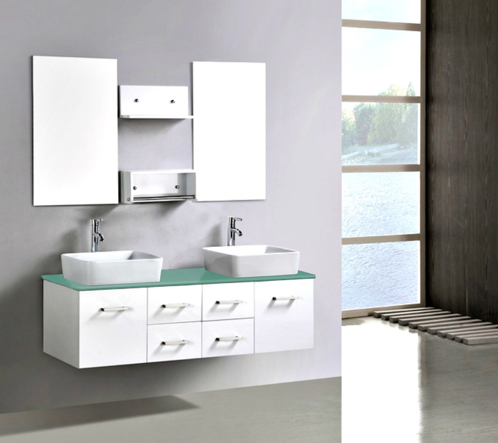 Double Bathroom Vanity Unit With Glass Top White Cabinet Bathroom