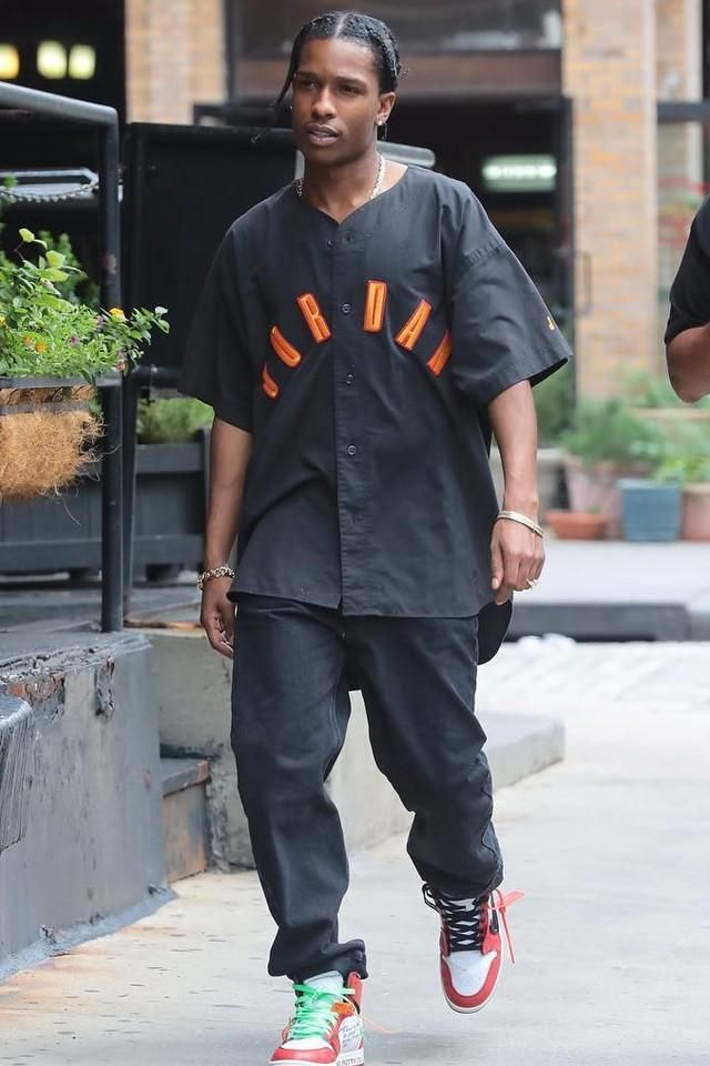 ASAP Rocky spotted in an Air Jordan Vintage Baseball Shirt by Nike ... 83f14d81a28