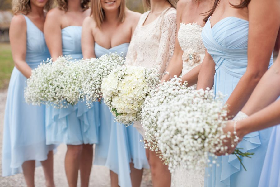 Powder Blue and Baby's Breath Bouquets| Stacy & Ben's Wedding at Davies Manor Plantation