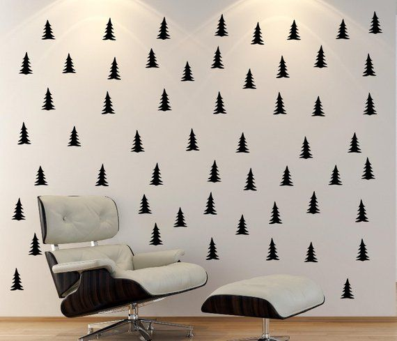 Pine Tree Patterned Wall Decal Gold Kids