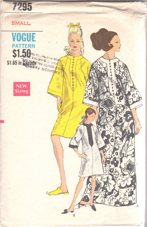 Vogue 7295 1960s Misses CAFTAN Pattern Three Quarter Sleeves Womens ...
