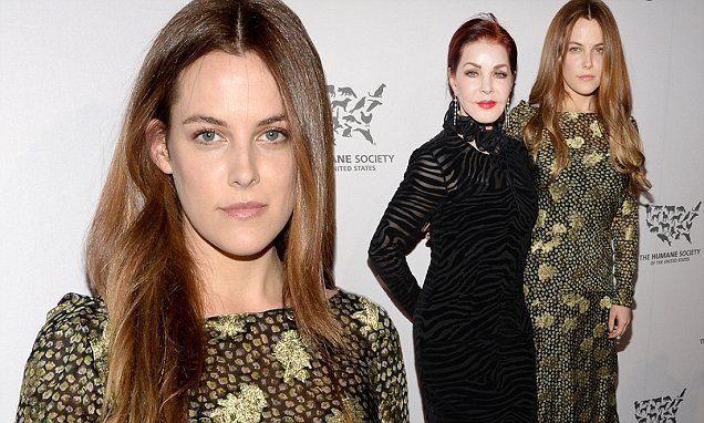 Riley Keough shows her classic beauty in olive and gold gown at gala