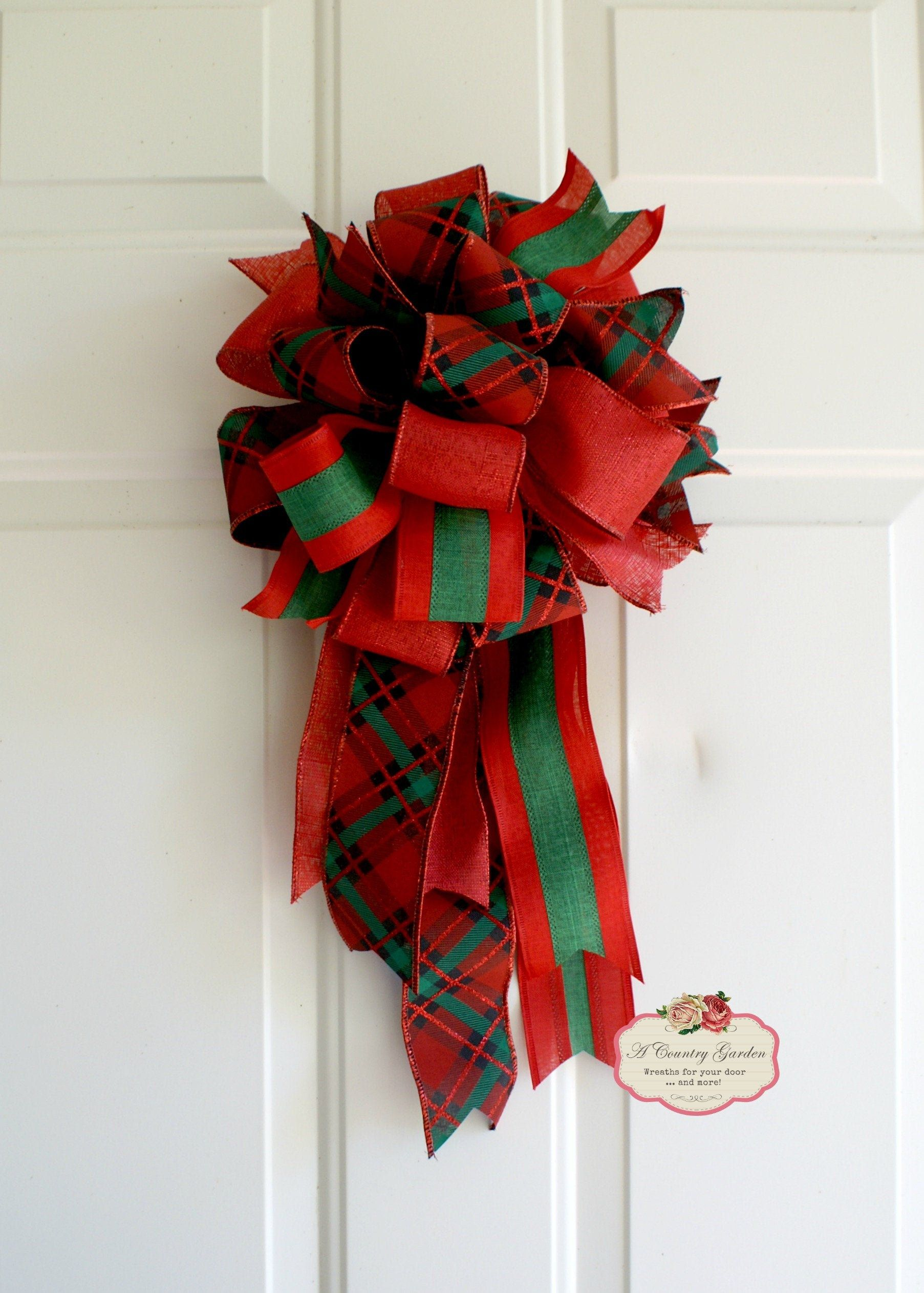 Green Country Christmas 2020 Christmas Plaid Wreath Bow, Red Green Country Plaid Swag Bow