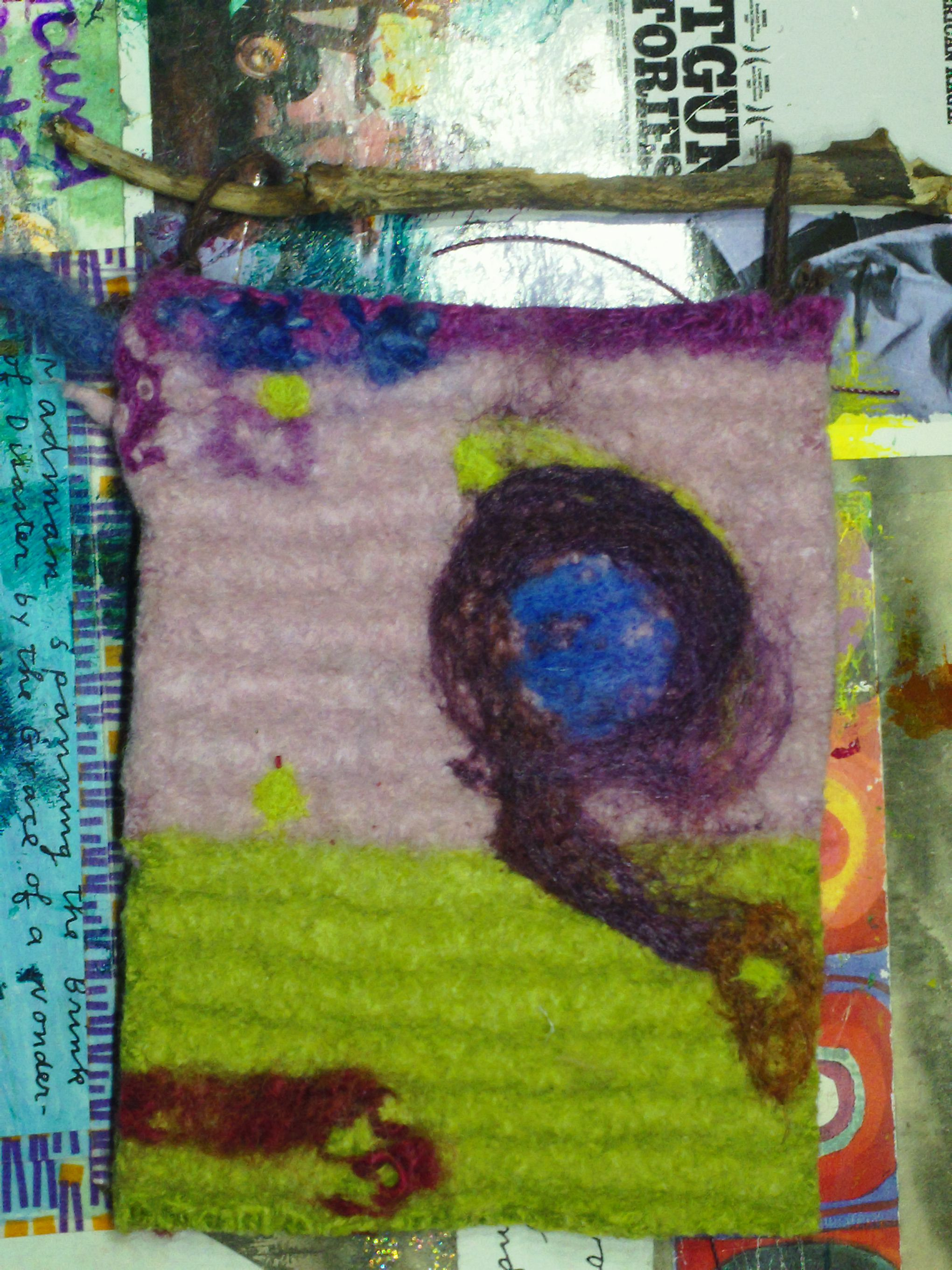 Small water and needle felted wall hanging from Beautifully Held PDX by B. McQueen