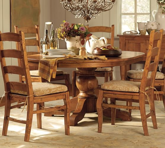Sumner Round Pedestal Extending Dining Table Tuscan Decorating