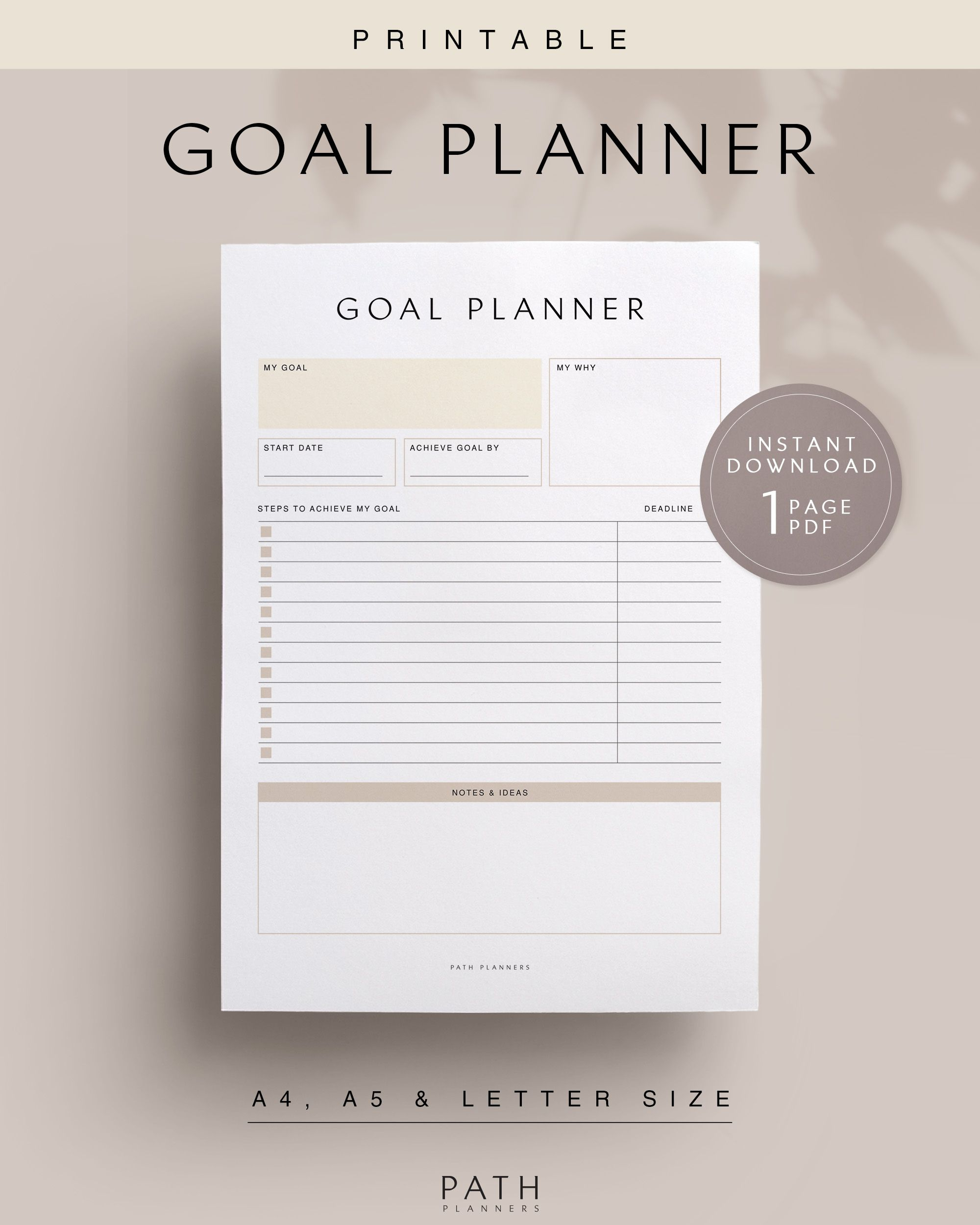 Goal Planner Printable Instant Download A4 A5 Us