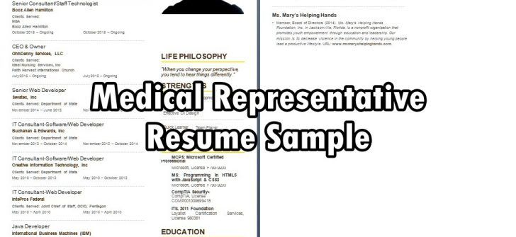Medical Representative Resume Sample Occupational Cv Examples