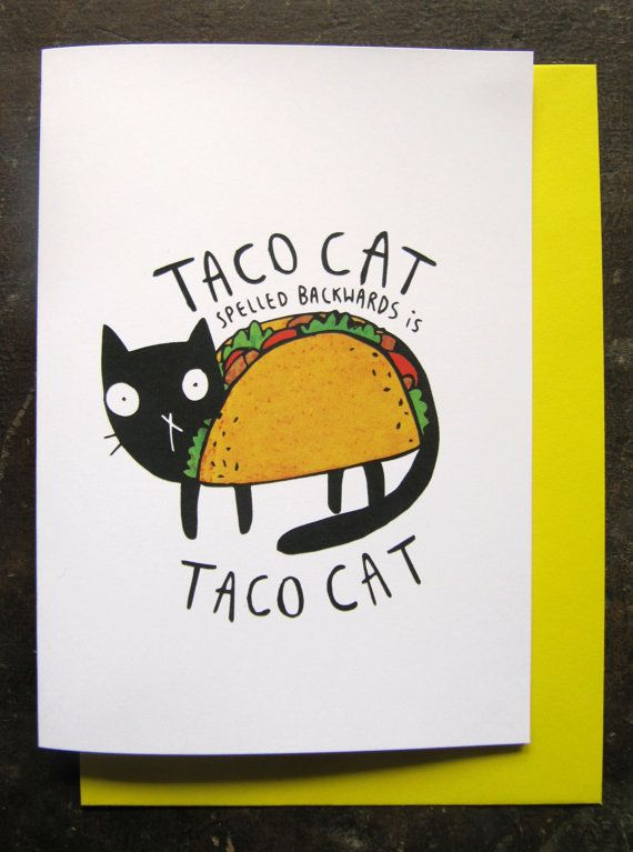 Taco Cat Greeting Card By KatieAbeyDesign On Etsy