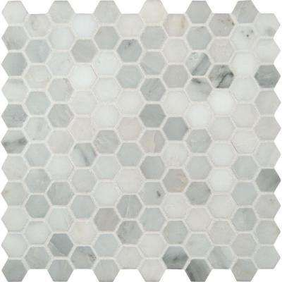 Msi Arabeo Carrara X Hexagon Dot Tile In Mosaic