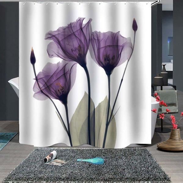 Purple Flowers Fine Shower Curtain With Images Purple Shower