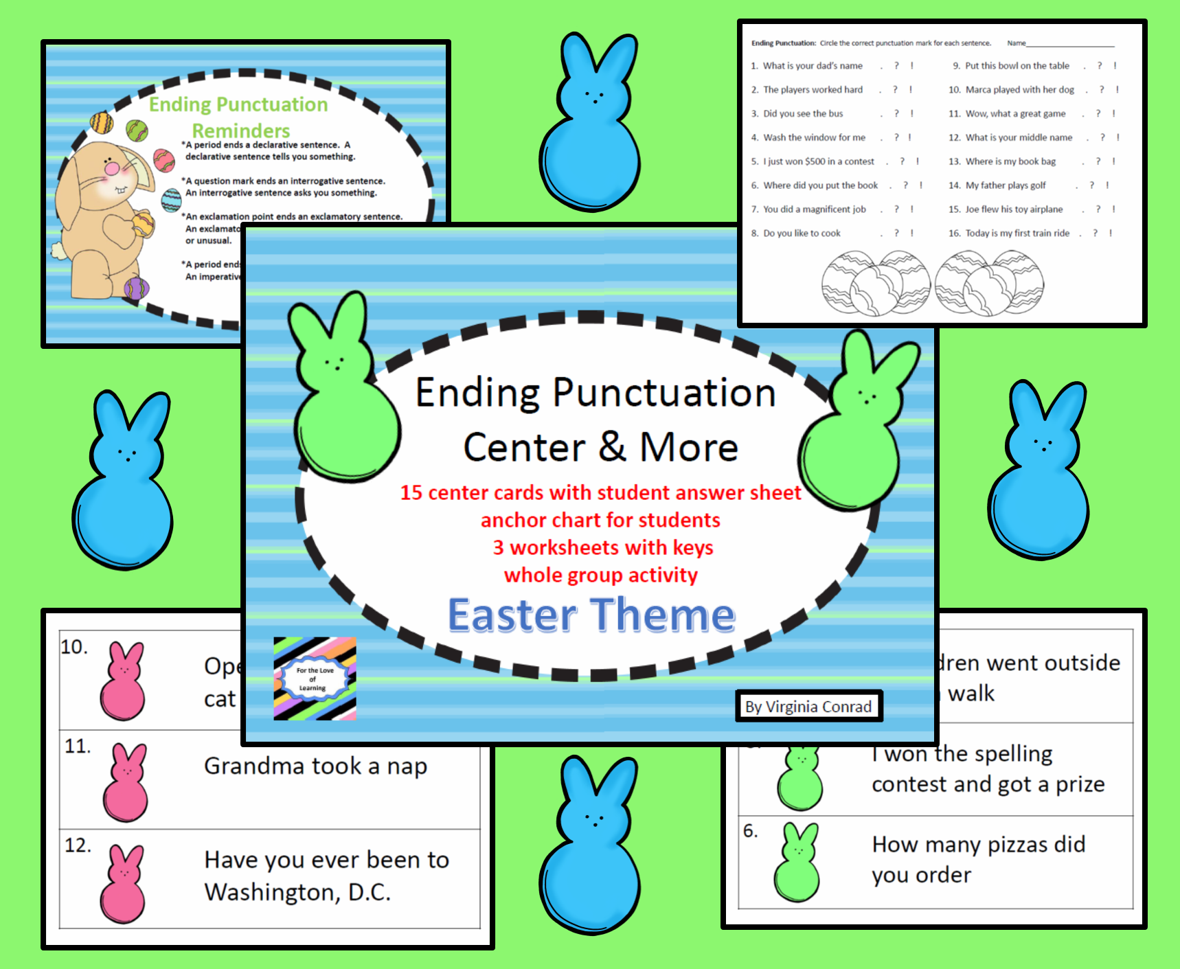 Ending Punctuation Activity Task Cards Worksheets