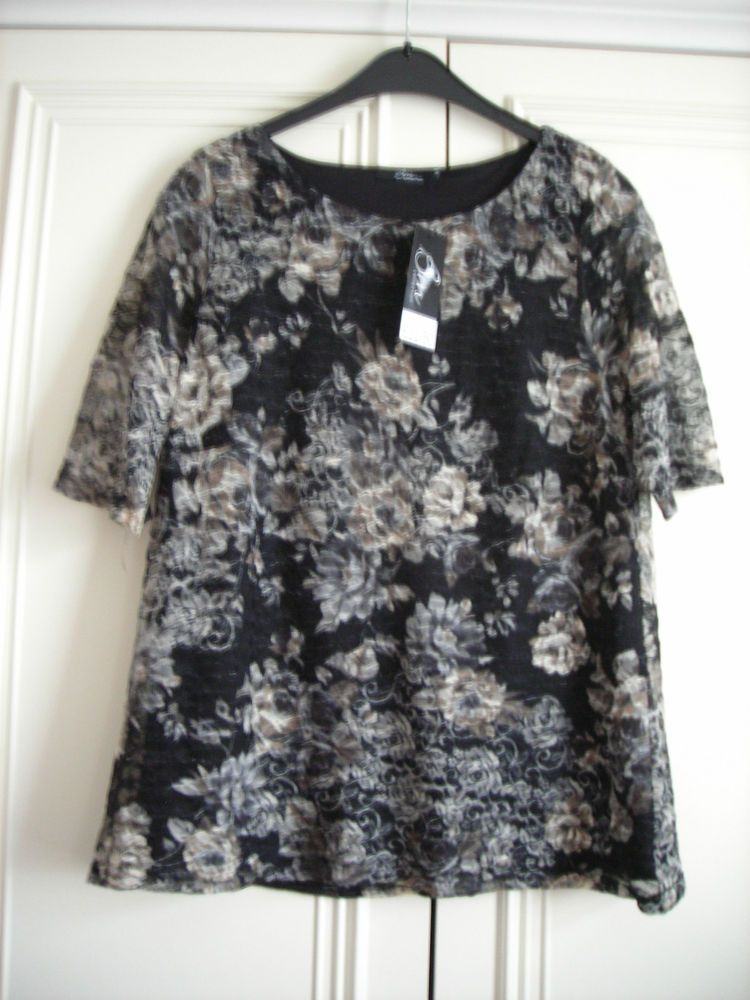8069f21c23a BON MARCHE LADIES WOMANS TOP SIZE 14 NEW BLACK ROSE PRINT LACE EFFECT   fashion  clothing  shoes  accessories  womensclothing  tops (ebay link)