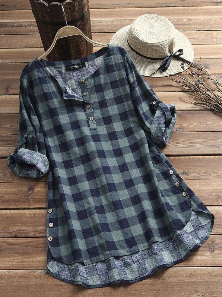 Chemises A Carreaux Vintage Carreaux Chemises Vintage Chic Outfits Tunic Designs Trendy Fashion Tops