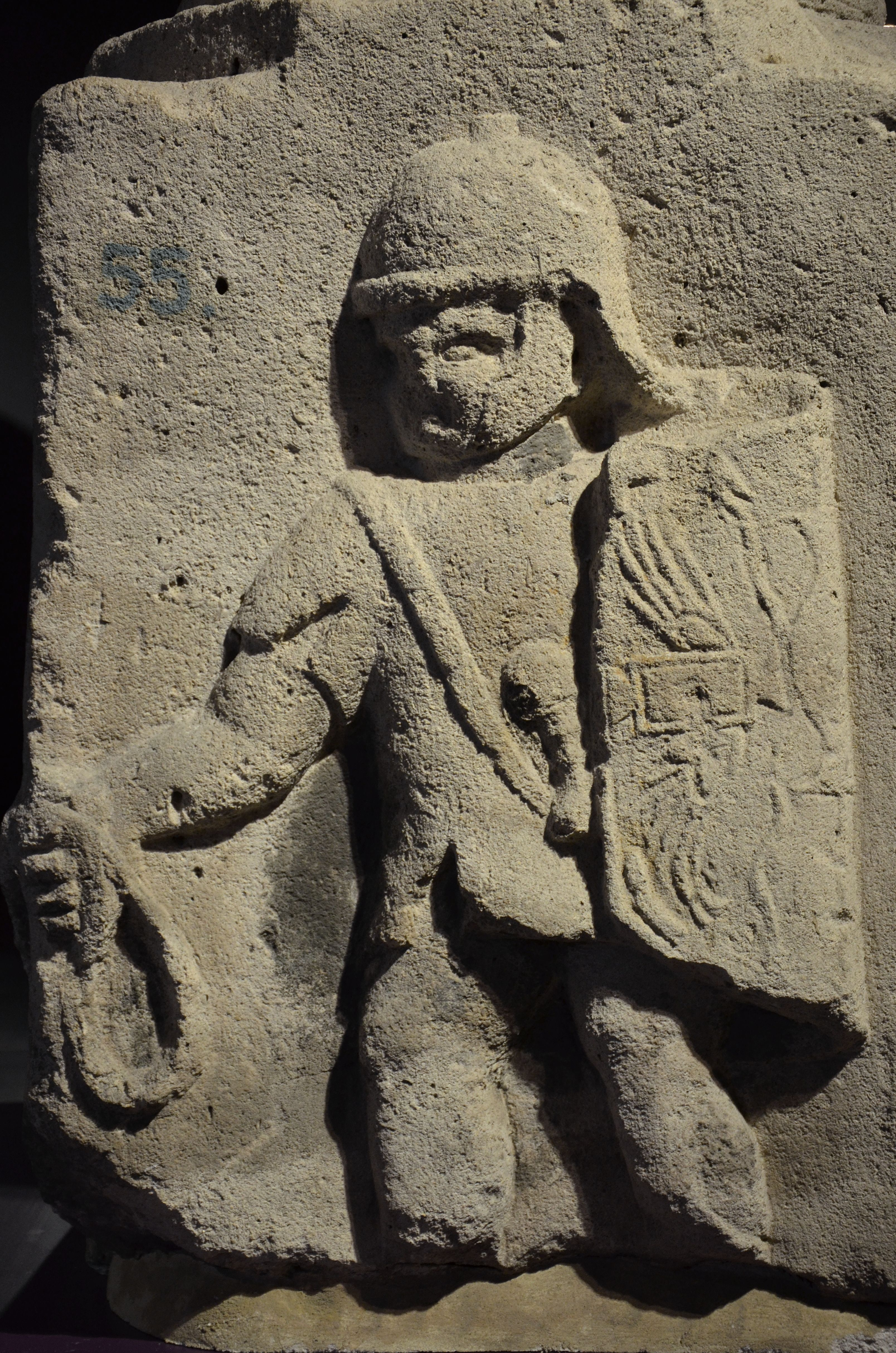 Relief pedestal depicting a Roman Legionary which once supported several columns in front of the headquarters of the Roman fortress of Mongotiacum, 2nd half of 1st century AD, Landesmuseum, Mainz