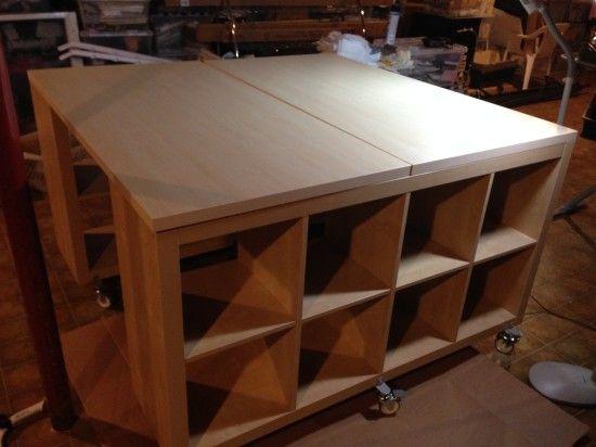 Craft Sewing Work Table Hack Ikea Hackers Craft Table Ikea Ikea Expedit Shelf Sewing Room Organization