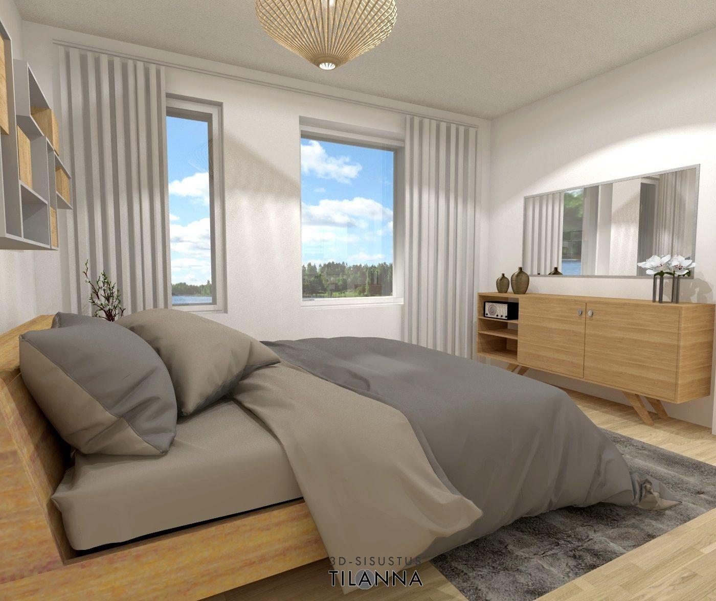 3D- visualisointi ja sisustussuunnittelu uudiskohteeseen/ kerrostalon makuuhuone/ VRP Rakennuspalvelut Oy, Asunto Oy Jyväskylän Äijälänsalmen Kara, ennakkomarkkinointi/ 3D-sisustus Tilanna