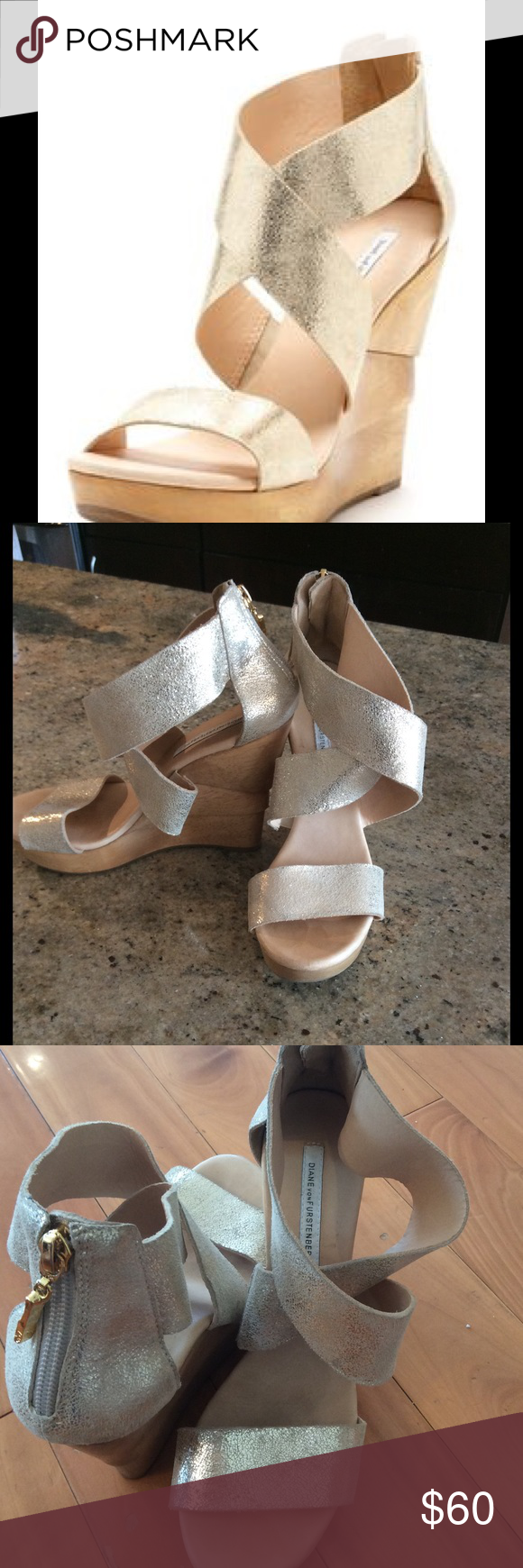 Gold Diane Von Frustenberg Opal Wedges Super cute gold wedges! EUC. Gold straps and wood wedge heel. Size 7.5 Diane von Furstenberg Shoes Wedges
