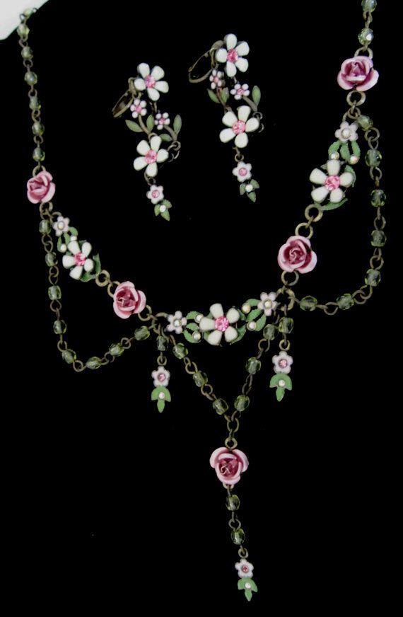 Avon Flower Earrings Pink Earrings Avon Rhinestone Necklace Set Pink Necklace Avon Flower Necklace
