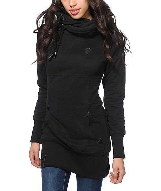 6f4ffdd282db This long and slim fit hoodie is crafted with a solid black heavyweight  fleece construction that is finished with faux leather brand patches and  emblem ...