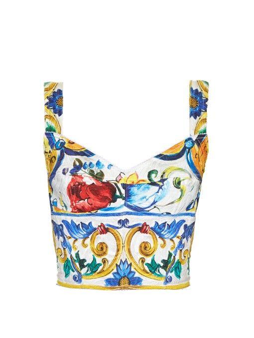 DOLCE & GABBANA Majolica-Print Floral-Brocade Crop Top. #dolcegabbana #cloth #top