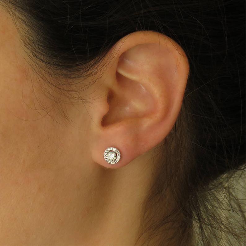 Diamond Studs White Gold And Diamonds Jewelry Diamond Gift Etsy Diamond Earrings Studs Halo Earrings Studs Diamond Gift