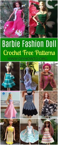 24 Crochet Barbie Fashion Doll Clothes Outfits Free Patterns #dolldresspatterns