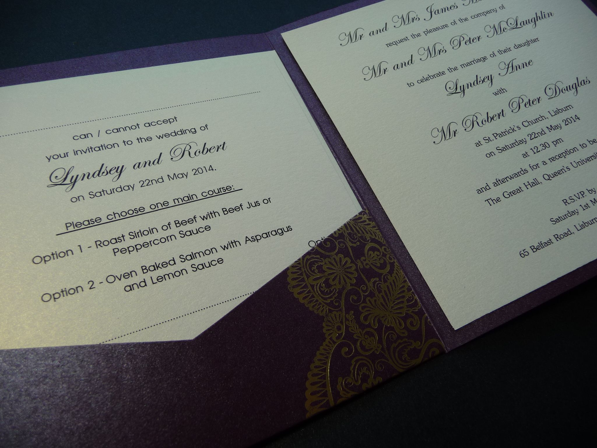 The Inside Of A Pocket Card Style Invitation Rsvp And Guest