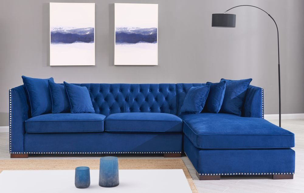 Brentford Blue Velvet Fabric Corner Sofa Suite Right Corner Sofa Design Living Room Decor Blue Sofa Sofa Bed Design