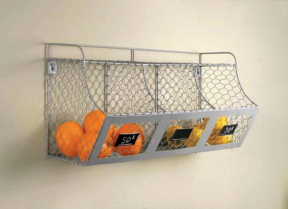 Wire Produce Bin - Wall Mount Chicken Wire 3 Part Storage Bin | Cool ...