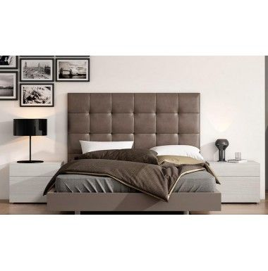 Cabecero tapizado en piel sintetica blanco o marr n para cama de matrimonio decoraci - Cabeceros de cama tapizados en piel ...