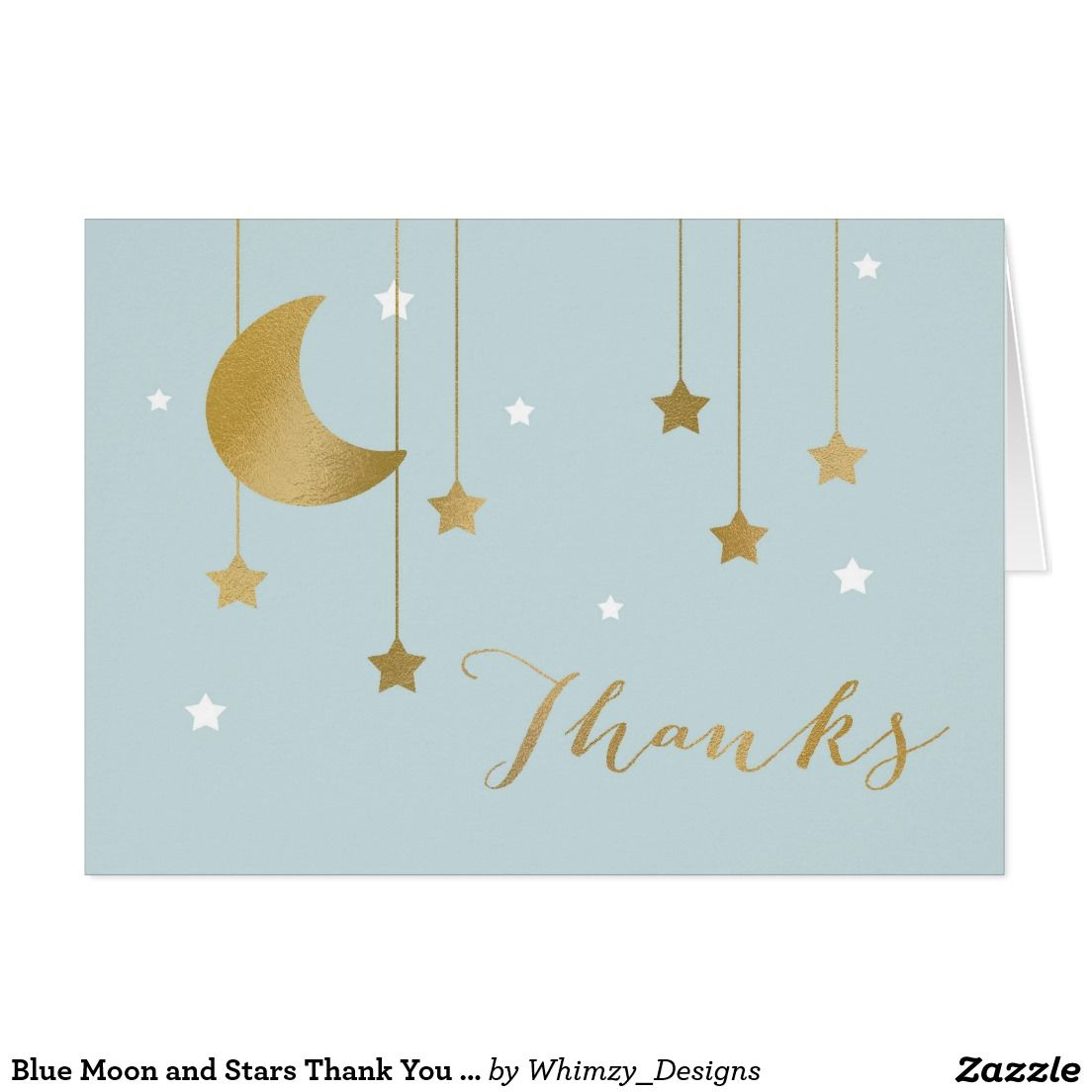 Blue Moon And Stars Thank You Note Card  Baby Shower  Thank You