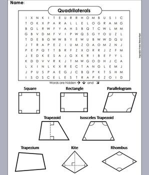 Quadrilaterals Word Search Quadrilaterals Worksheet Teaching Geometry Quadrilaterals