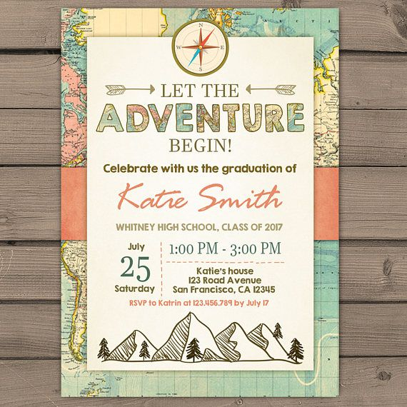 graduation invitation adventure begin vintage map places you go,