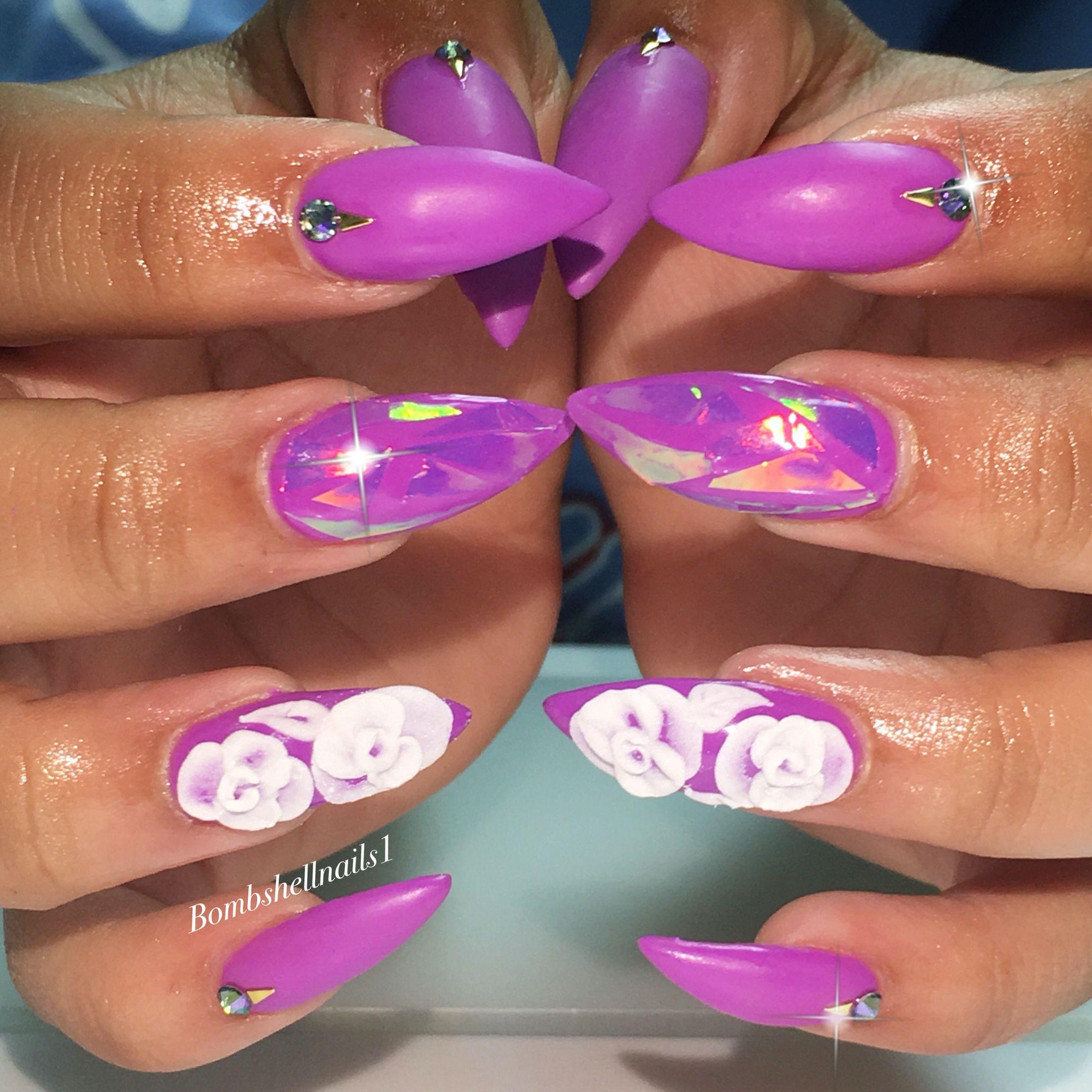 Stilettos, Kiara sky gel polish , 3D roses | Bombshell nails ...