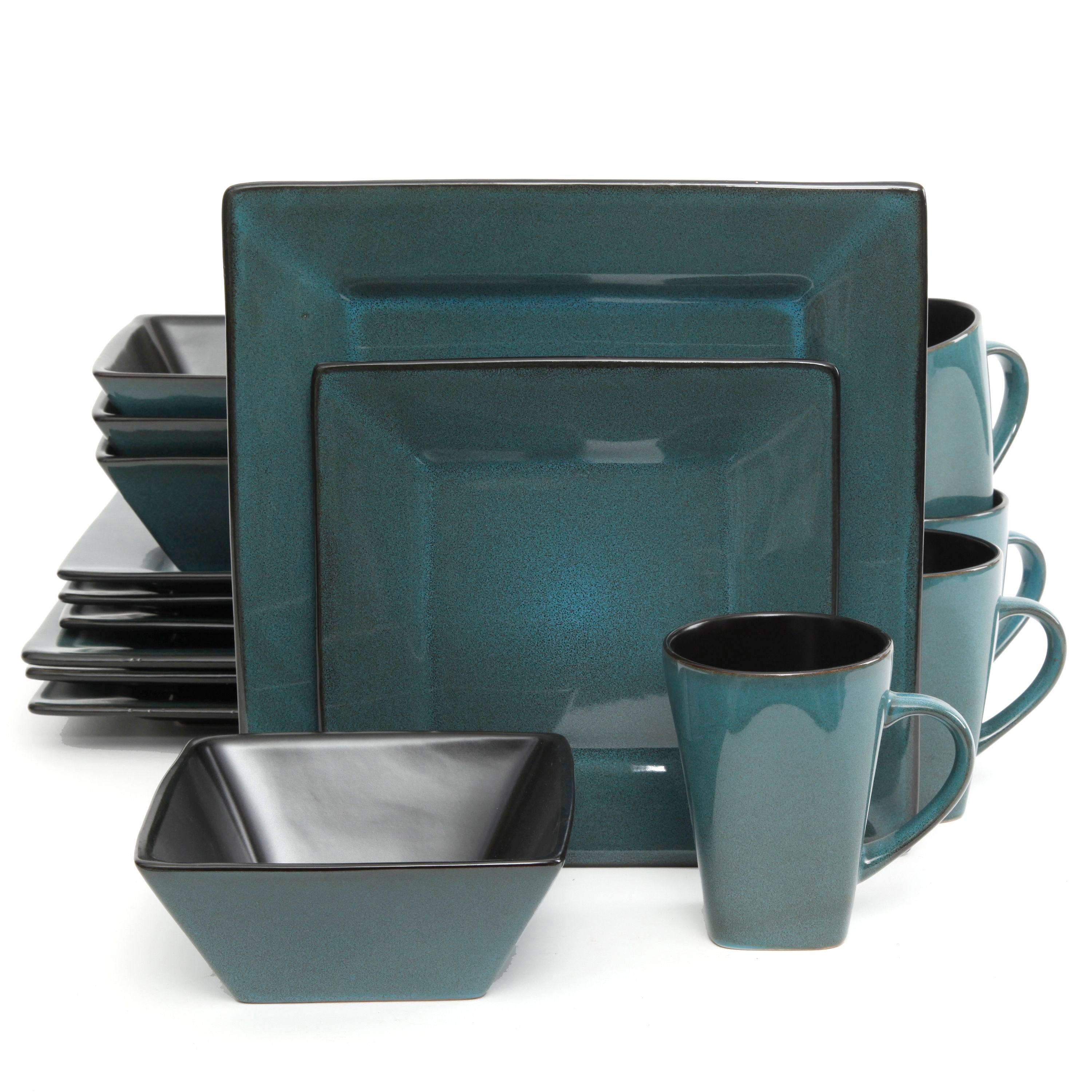 The Gibson Elite Kiesling Square Dinnerware Set in blue is the perfect set for a family of four. Bold designs for the bold at heart.  sc 1 st  Pinterest & The Gibson Elite Kiesling Square 16-piece Dinnerware Set in blue is ...