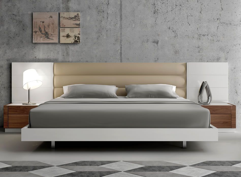 Lisbon Modern Platform Bed With Upholstered Headboard Bedroom Cool Bedroom Furniture Stores Chicago