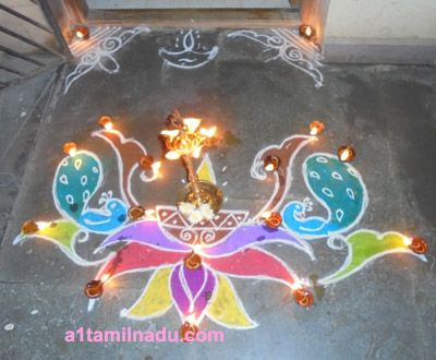 Karthigai Deepam Kolangal   Christmas ornaments, Holiday ...