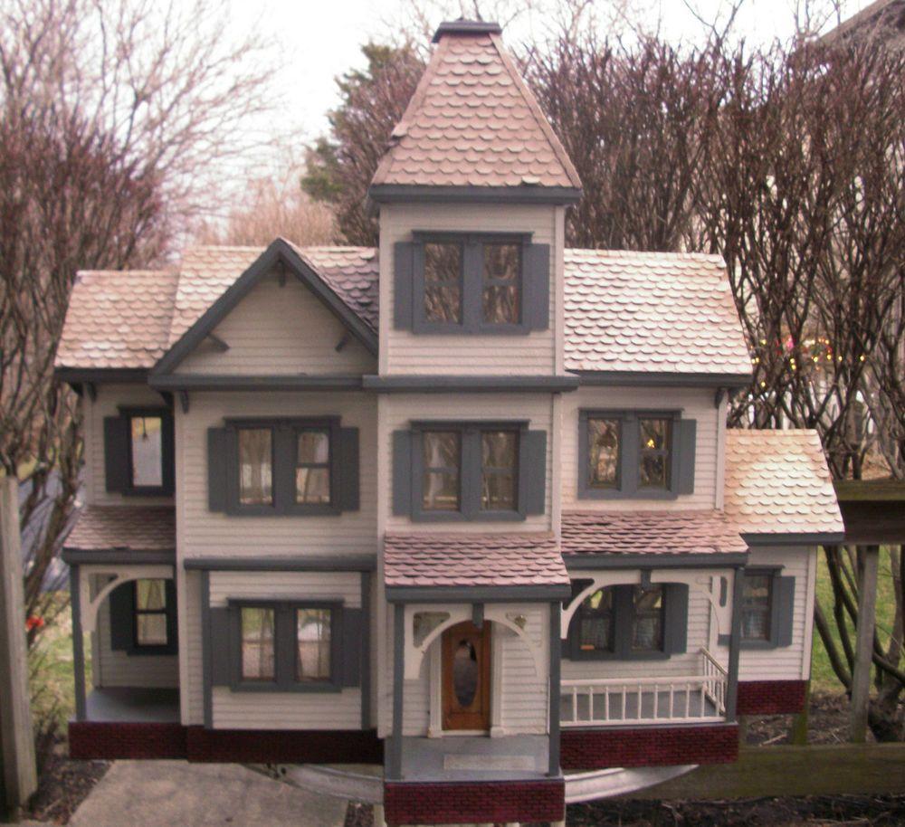Details about Vintage LITTLE ORPHAN ANNIE VICTORIAN Huge Wooden light up Doll House