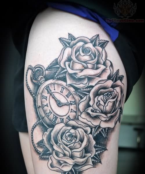 9b9b517c3 Grey Ink Roses And Watch Tattoo On Thigh | Tattoos | Watch tattoos ...