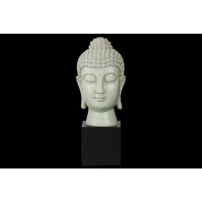 Urban Trends Collection 13.5 in. H Buddha Decorative Sculpture in White Gloss Finish #buddhadecor