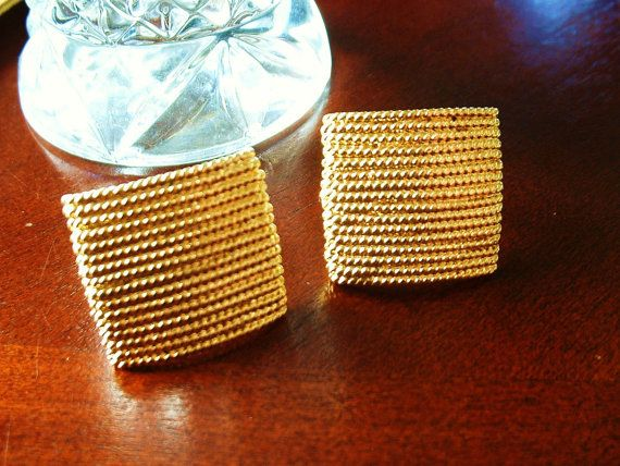 Vintage NAPIER Earrings Golden Rope Square Signed by tea500, $19.99