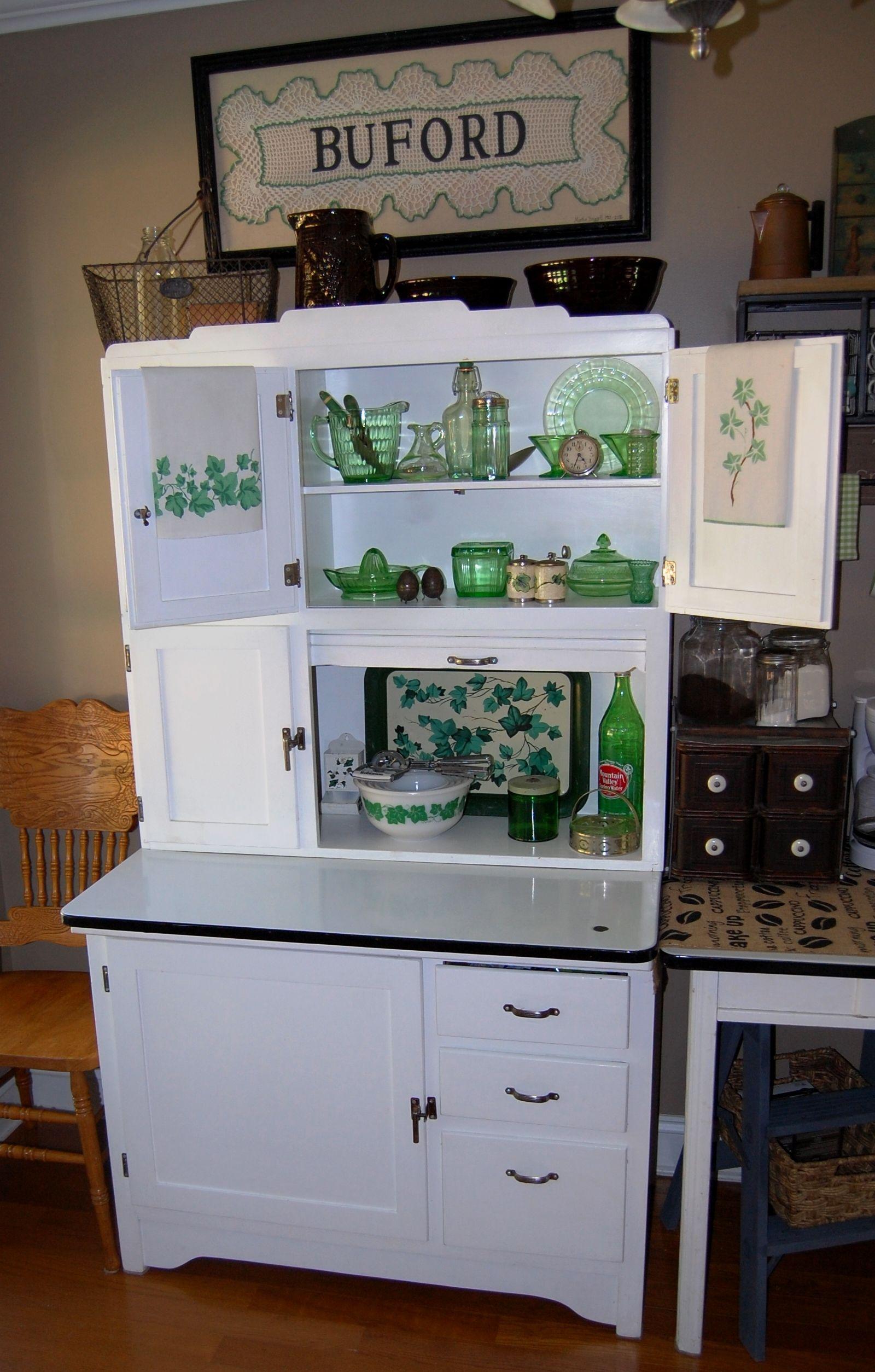 Best Kitchen Gallery: My Grandmother S Hoosier Cabi Filled With Greenware Kitschy of Vintage Kitchen Cupboards on rachelxblog.com