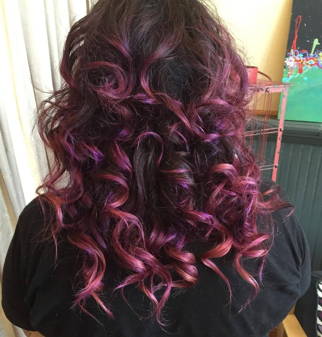 Picture of black and magenta balayage hair - 50 Cute Balayage Hair Color Ideas 2017