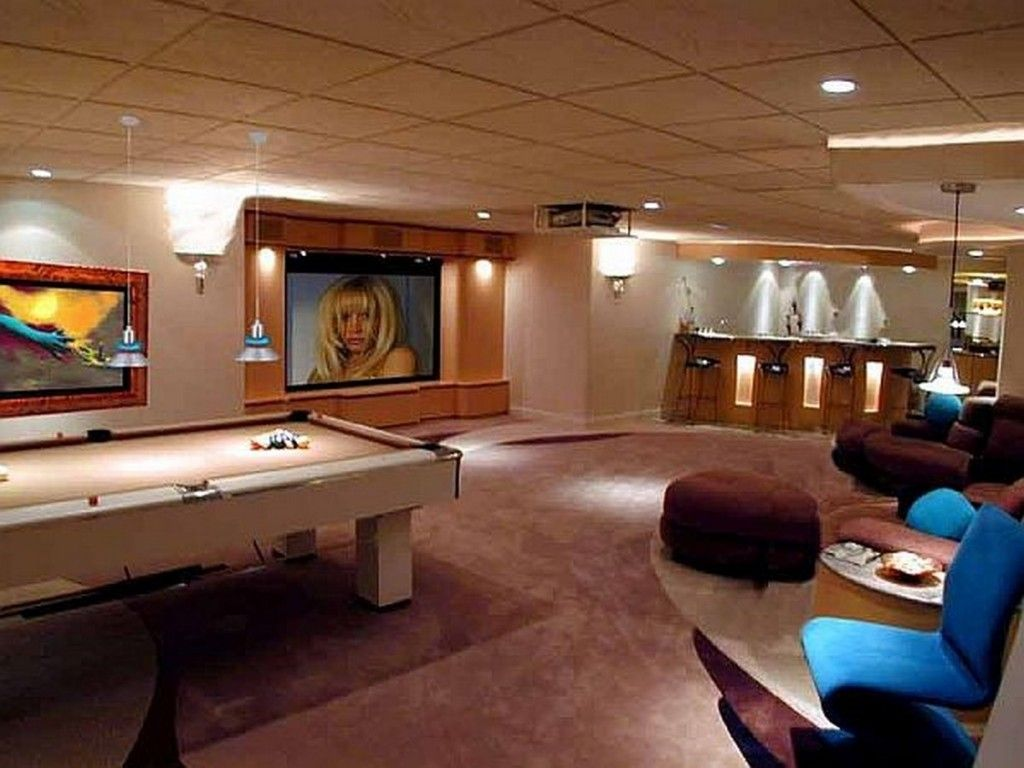 Eclectic Game Room Design With Modern Pool Table Recessed Lights ...