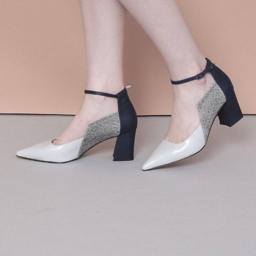 Side square thick with thin strap pointed shoes blue – no216 – High Heels