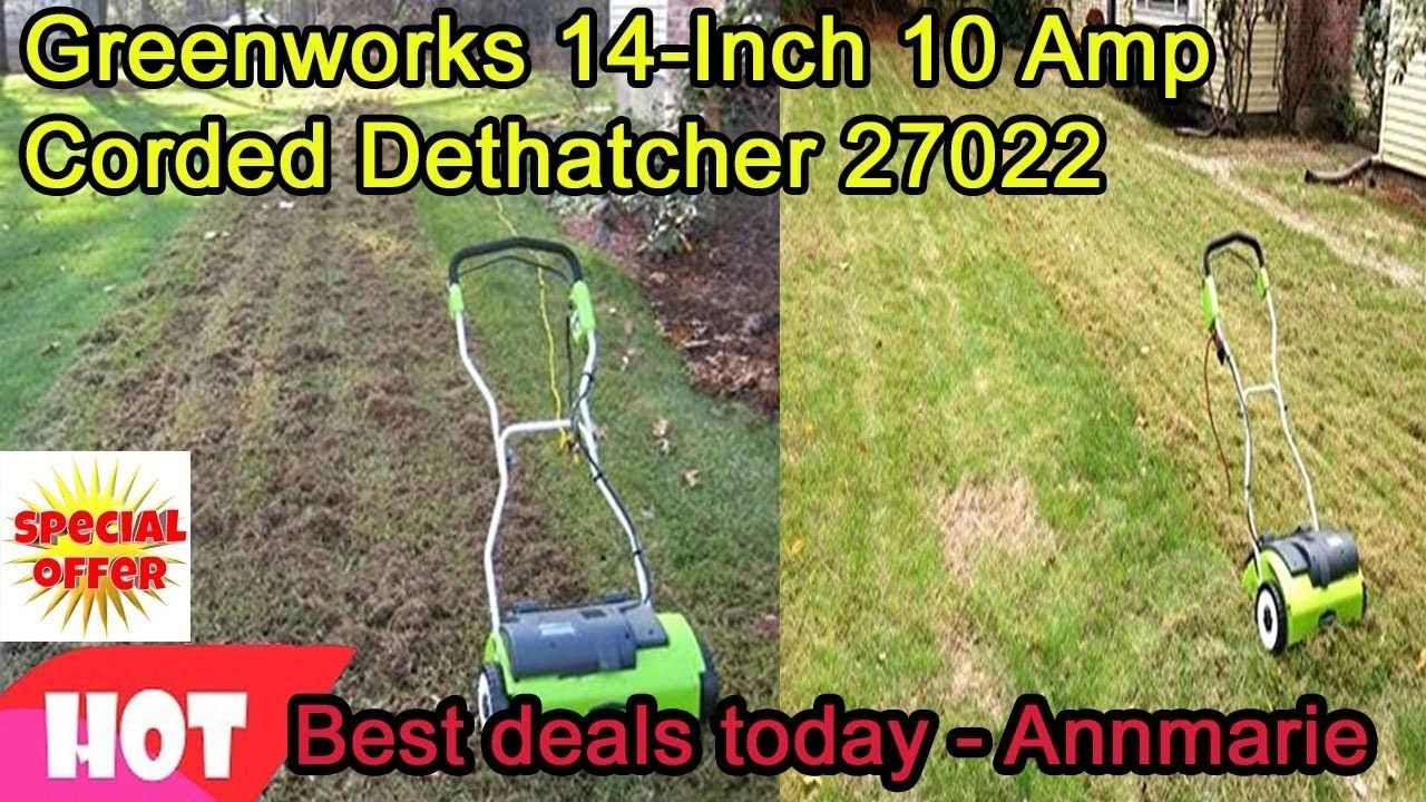 Best Deals Today Greenworks 14 Inch 10 Amp Corded Dethatcher 27022 2019 Pinterest Deal And