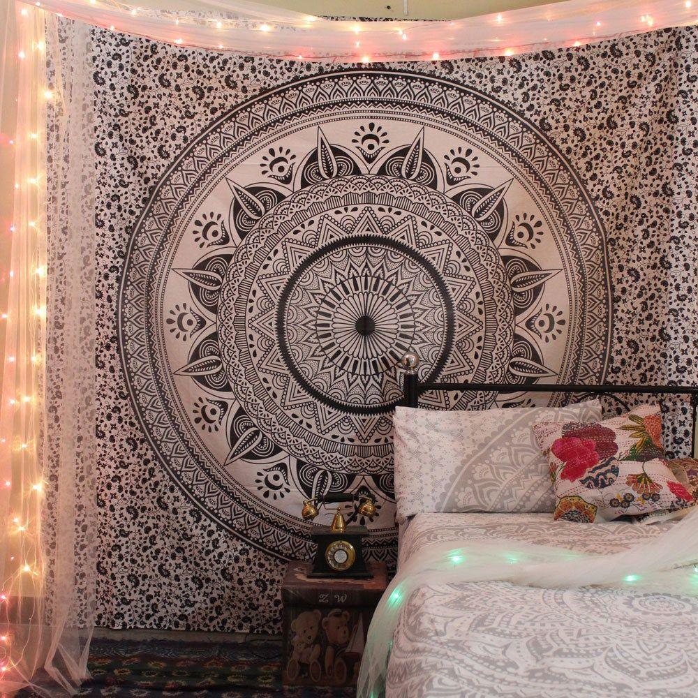 Tapestry Queen Exclusive Flower Black-White Mandala Bedspread Ethnic Dorm Decor