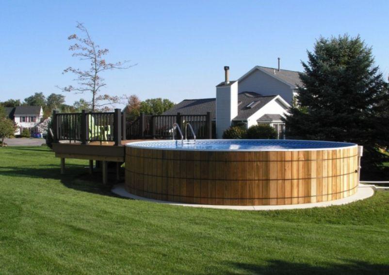 Making An Above Ground Pool Look Nice Backyard Pool Landscaping Swimming Pools Backyard Pool Landscaping