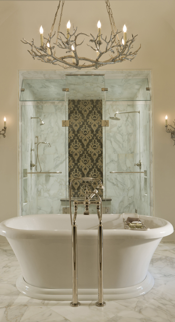 master bath antler chandelier tile marble | Serape Bedroom ...