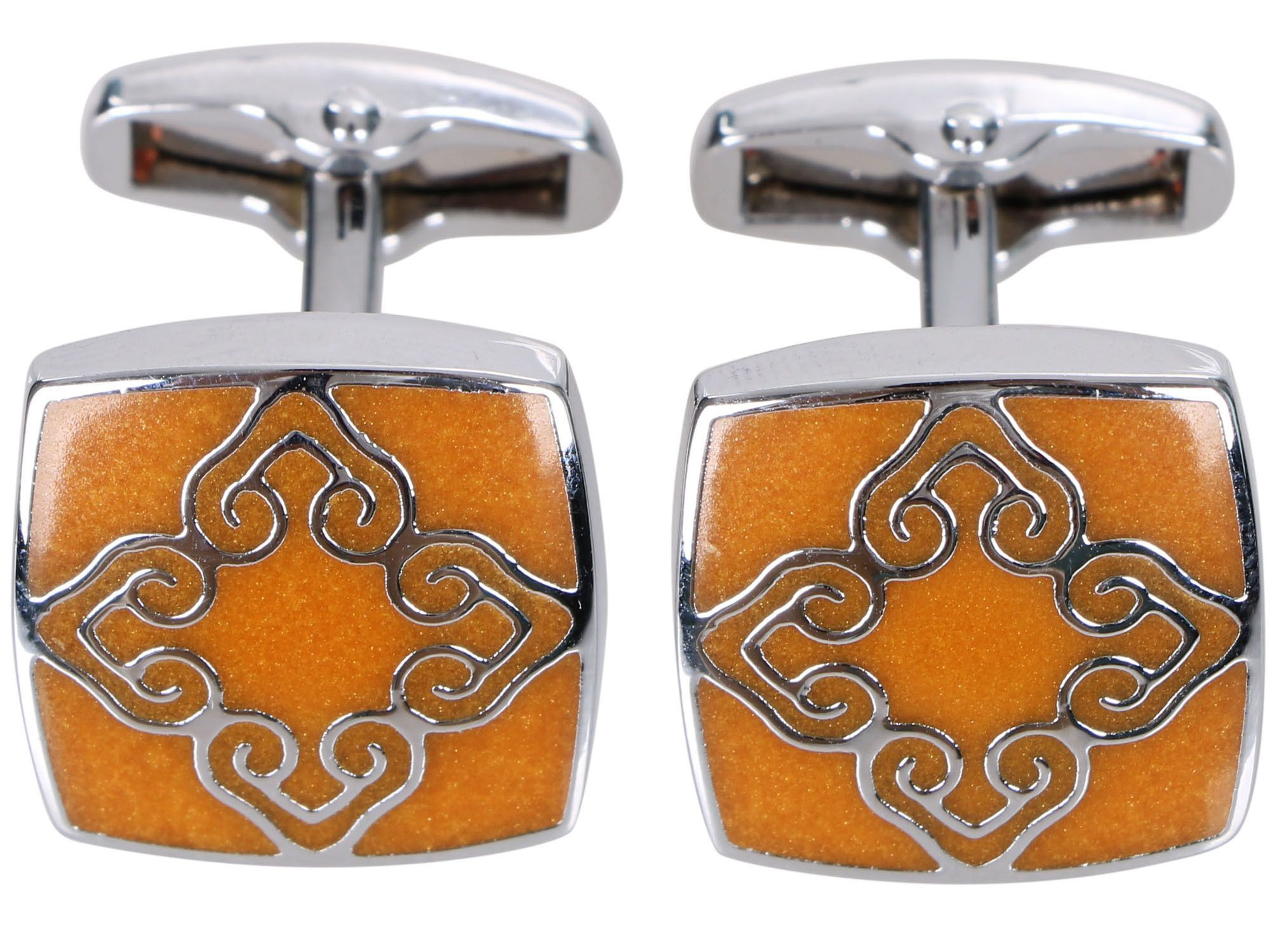 Men's Classic Ornate Cufflinks, Yellow Square Floral
